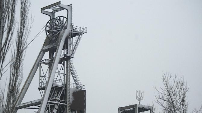 File picture shows the pit head at the  Zasyadko mine near Donetsk, where at least 32 miners have been killed in a blast