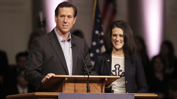 Republican presidential candidate, former Pennsylvania Sen. Rick Santorum, accompanied by his daughter, Elizabeth, speaks at Temple Baptist Church in Powell, Tenn., Wednesday, Feb. 29, 2012.  (AP Photo/Mark Humphrey)