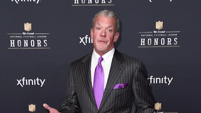 Jim Irsay, owner of the Indianapolis Colts, arrives at the 4th annual NFL Honors at the Phoenix Convention Center Symphony Hall on Saturday, Jan. 1, 2015. (Photo by Jordan Strauss/Invision for NFL/AP Images)