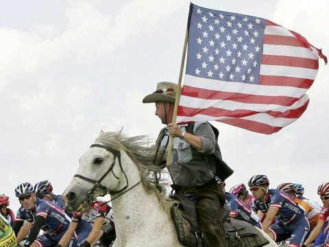 american flag horse lance armstrong