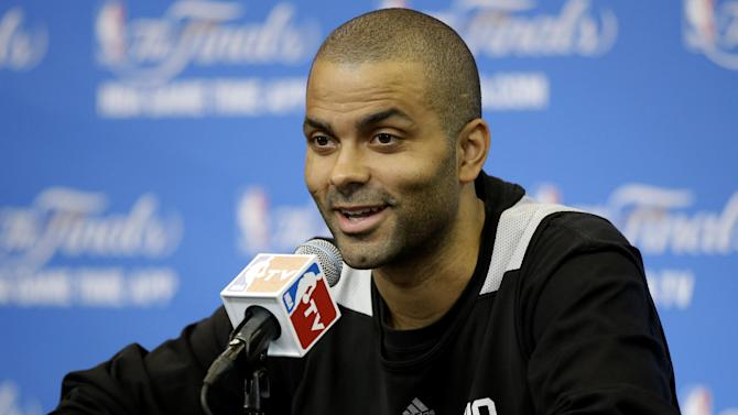 San Antonio Spurs guard Tony Parker answers a question during practice on Friday, June 6, 2014, in San Antonio. The team plays Game 2 of the NBA Finals against the Miami Heat on Sunday