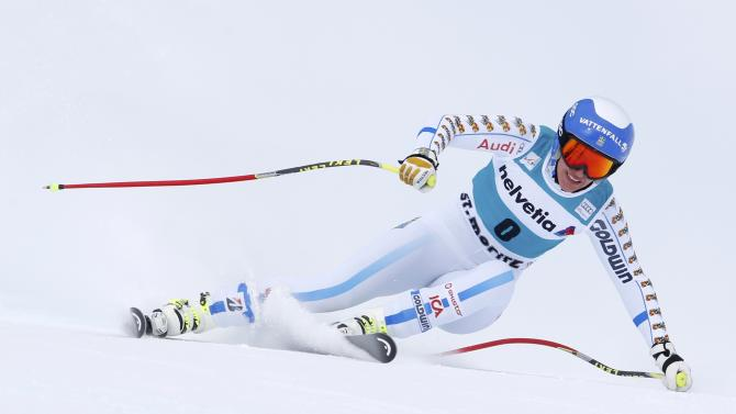 Kling of Sweden competes during women's Alpine Skiing World Cup Super-G in St. Moritz