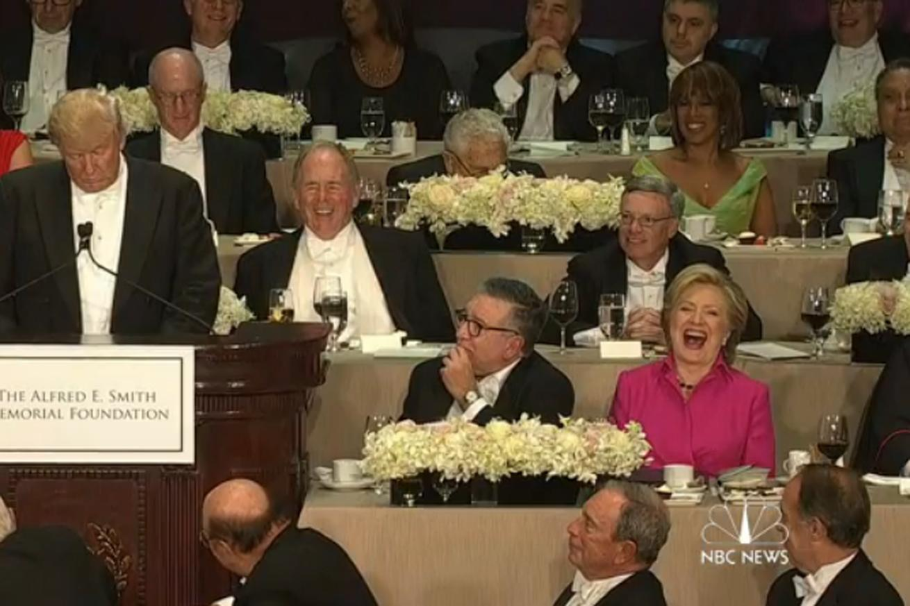 Trump and Clinton just roasted each other at a charity dinner, and boy was it awkward