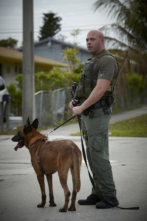 Jerry Wenge with K-9 Bali as seen on &quot;Unleashed: K9 Broward County.&quot; 