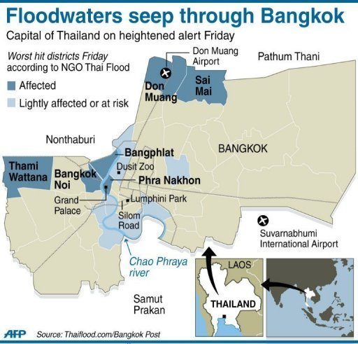 Thai floods creep closer to central Bangkok
