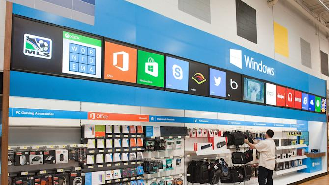 This undated image provided by Microsoft Corp., shows a Windows Store only at Best Buy . Microsoft announced Tuesday, Aug. 31, 2013, it is bringing a pared-down version of its Office software to Android phones, but it won't work on Android tablets just as it doesn't on iPads. (AP Photo/Microsoft Office)