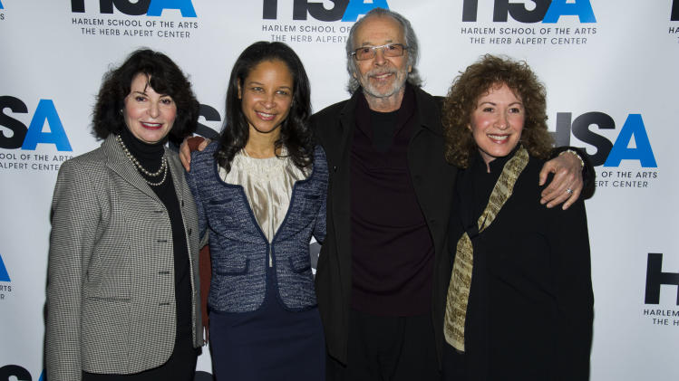 """IMAGE DISTRIBUTED FOR HARLEM SCHOOL OF THE ARTS - From left to right, Rona Sebastian, Yvette L. Campbell, Lani Hall and Herb Albert attend the """"Harlem School of the Arts - The Herb Alpert Center"""" building naming ceremony, on Monday, March 11, 2013 in New York. (Photo by Charles Sykes/Invision for Harlem School of the Arts/AP Images)"""