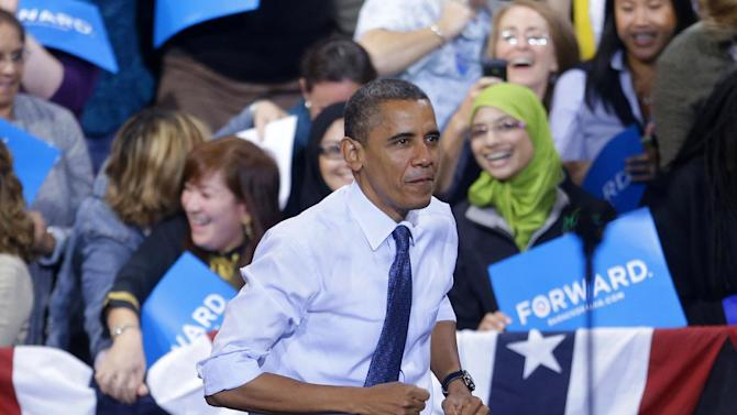 President Barack Obama takes the stage during a campaign event at George Mason University, Friday, Oct. 5, 2012, in Fairfax, Va (AP Photo/Pablo Martinez Monsivais)