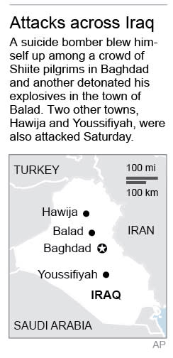 Map locates Baghdad and other sites of violence across Iraq; 1c x 4 inches; 46.5 mm x 101 mm;