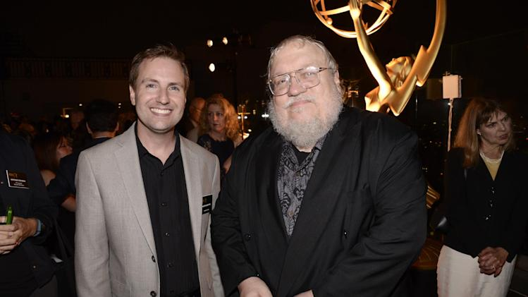 Maury McIntyre, left, and George R.R. Martin attend at the Television Academy's 66th Emmy Awards Producers Nominee Reception at the London West Hollywood on Friday, Aug. 22, 2014. (Photo by Dan Steinberg/Invision for the Television Academy/AP Images)