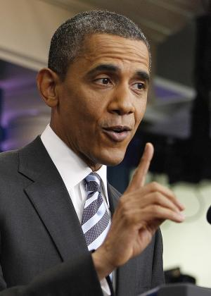 President Barack Obama answers questions on the ongoing budget negotiations during a press conference in the Brady Briefing Room of the White House in Washington, Friday, July 15, 2011. (AP Photo/Evan Vucci)