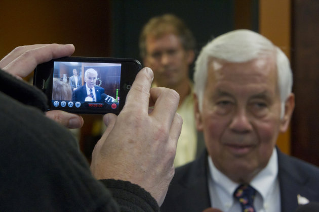 Sen. Richard Lugar, R-Ind., is video recorded by a cell phone during a visit to the West Lafayette wastewater treatment center Monday, May 7, 2012 in West Lafayette, Ind. Lugar visited West Lafayette this morning in a last minute appeal to voters in Tuesdays primary election. (AP Photo/Journal & Courier, Michael Heinz)