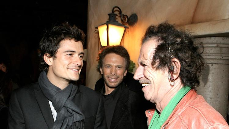 Orlando Bloom Producer Jerry Bruckheimer and Keith Richards
