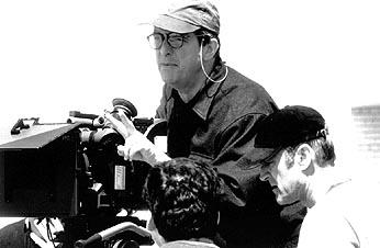 Director Mike Newell on the set of Pushing Tin