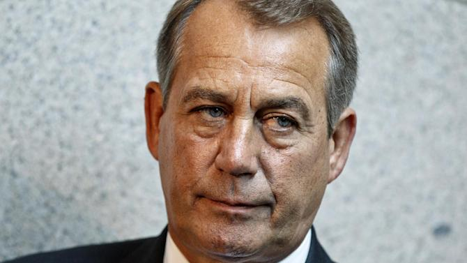 House Speaker John Boehner of Ohio meets with reporters following a GOP strategy session on Capitol Hill in Washington, Thursday, May 31, 2012. Republicans stung by the culture wars that dominated political discourse this year are standing down on social issues. They are acutely aware that the presidential and congressional elections five months off are expected to turn on a thin margin of independent voters neither party can afford to alienate. Boehner vowed to reverse President Barack Obama's birth control policy. But there's no sign of any such legislation. (AP Photo/J. Scott Applewhite)