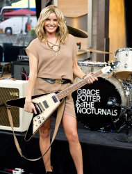 "This June 12, 2012 photo shows musician Grace Potter of Grace Potter & the Nocturnals in New York. Potter, the frontwoman for Grace Potter & The Nocturnals, isn't the type to do what people expect; she's more interested in following her heart. That's why the band's latest, ""The Lion, The Beast, The Beat,"" ramps up the rock quotient considerably from its last self-titled release in 2010. (Photo by Charles Sykes/Invision/AP)"