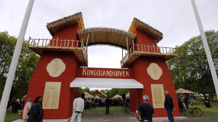 """Guests attend the opening of the """"Congo Village"""" in Oslo"""