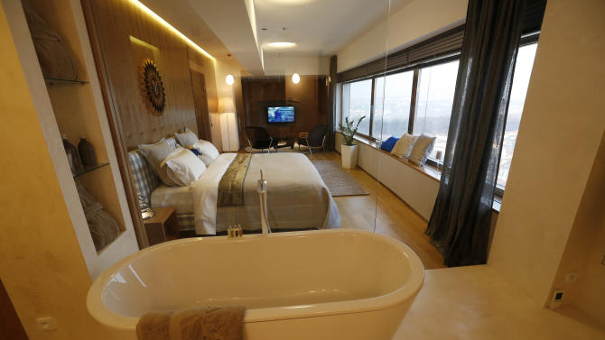 This picture taken March 6, 2013, shows the inside of a hotel room at the Zizkov television tower in Prague, Czech Republic. Seventy-three meters above the ground, the six-star luxurious room is available for 1,000 euro (US $1,305) per night since its opening on Feb 13. (AP Photo/Petr David Josek)