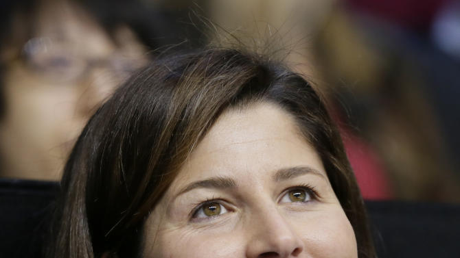 Mirka Vavrinec watches her husband Roger Federer of Switzerland play Janko Tipsarevic of Serbia during their singles tennis match at the ATP World Tour Finals in London Tuesday, Nov. 6, 2012. (AP Photo/Kirsty Wigglesworth)