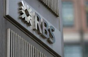 The logo of the Royal Bank of Scotland is seen at an office in London