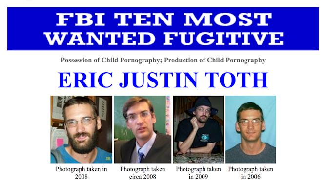 """This image made from the Federal Bureau of Investigation """"Ten Most Wanted"""" section of the website on Wednesday, April 11, 2012 shows Eric Justin Toth— Police in Nicaragua have detained one of the FBI's ten most-wanted fugitives, child-porn suspect Eric Justin Toth. The head of detectives for Nicaragua's National Police force says Toth was detained near the Honduran border. Glenda Zavala said Monday that Toth had been detained Saturday, based on an international detention request. The former Washington D.C. elementary school teacher faces accusations he possessed and produced child pornography. (AP Photo/FBI)"""