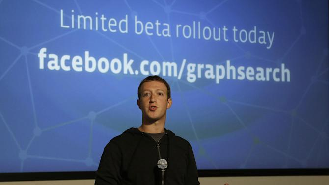 "Facebook CEO Mark Zuckerberg speaks at Facebook headquarters in Menlo Park, Calif., Tuesday, Jan. 15, 2013.  Zuckerberg introduced ""graph search"" Tuesday, a new service that lets users search their social connections for information about their friends' interests, and for photos and places.  (AP Photo/Jeff Chiu)"