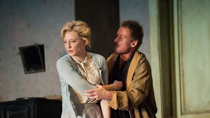"""This undated publicity photo released by Lincoln Center Festival 2012 shows Cate Blanchett, left, and Richard Roxburgh in a scene from the Sydney Theatre Company's production of """"Uncle Vanya,"""" currently performing at New York City Center in New York.  (AP Photo/Lincoln Center Festival, Stephanie Berger)"""