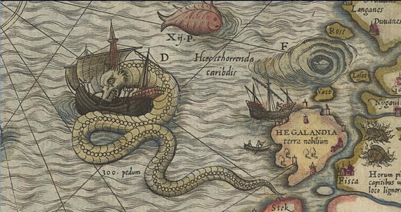 One of the classic images of a sea monster on a map: a giant sea-serpent attacks a ship off the coast of Norway on Olaus Magnus's Carta marina of 1539, this image from the 1572 edition.
