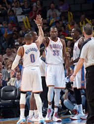 OKLAHOMA CITY, OK - MARCH 10:  Kevin Durant #35 and Russell Westbrook #0 of the Oklahoma City Thunder congratulate each other during the game between the Oklahoma City Thunder and the Boston Celtics on March 10, 2013 at the Chesapeake Energy Arena in Oklahoma City, Oklahoma. (Photo by Layne Murdoch/NBAE via Getty Images)