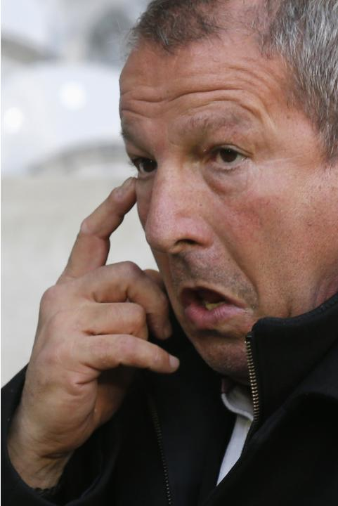 Montpellier's coach Roland Courbis reacts during their French Ligue 1 soccer match against Lille at Pierre Mauroy Stadium in Villeneuve d'Ascq