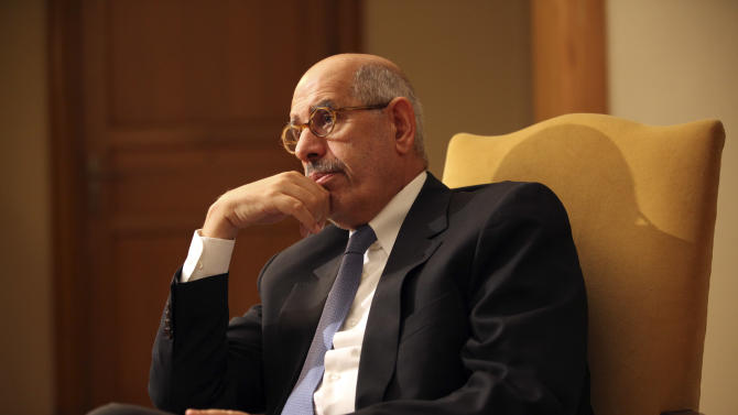 "Leading democracy advocate Mohammed ElBaradei speaks to a handful of journalists including the Associated Press saying dialogue with Egypt's Islamist president is not possible until he rescinds his decrees giving himself near absolute powers, at his home on the outskirts of Cairo, Egypt, Saturday, Nov. 24, 2012. ElBaradei, a Nobel Peace laureate for his past work as the head of the U.N. nuclear watchdog, has formed a ""National Salvation Front"" with other liberal and secular leaders, trying to unify the opposition against Morsi. (AP Photo/Thomas Hartwell)"