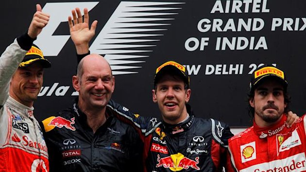 Button, Vettel, Alonso India 2011