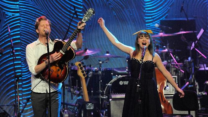 Neyla Pekarek, right, and Wesley Schultz of the band The Lumineers perform at the Clive Davis Pre-GRAMMY Gala on Saturday, Feb. 9, 2013 in Beverly Hills, Calif. (Photo by Chris Pizzello/Invision/AP)
