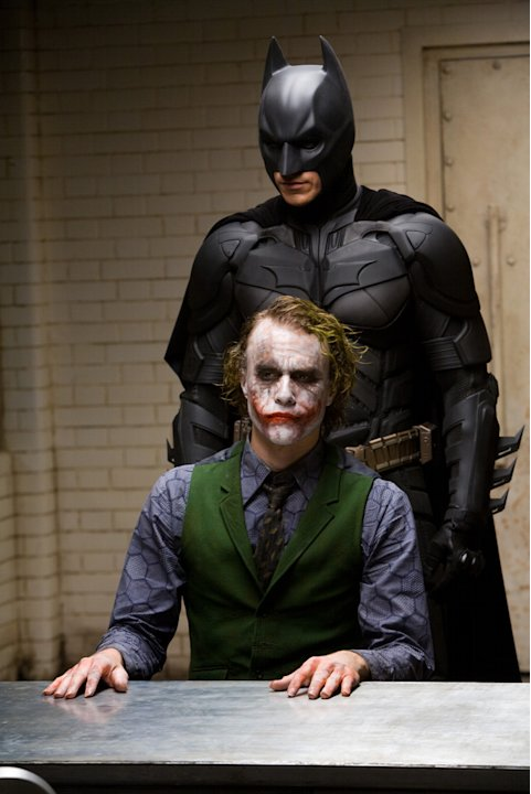 Christian Bale Heath Ledger Batman The Dark Knight Production Warner Brothers 2008