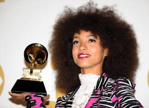 Esperanza Spalding poses with her award during the 53nd annual Grammy Awards in Los Angeles on February 13, 2011 -- Getty Premium