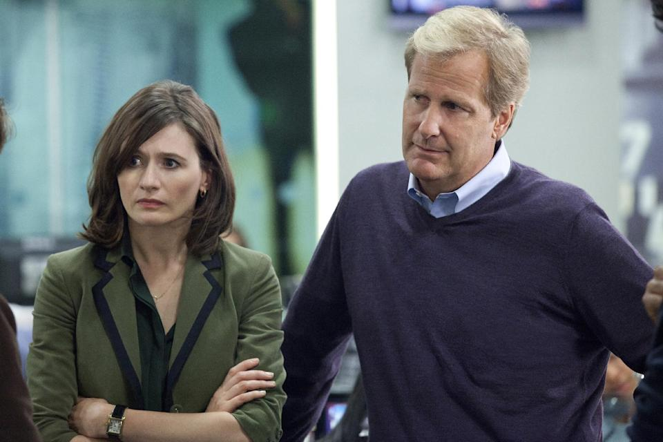 "This publicity image released by HBO shows Emily Mortimer as Mackenzie MacHale , left, and Jeff Daniels as Will McAvoy on the HBO series, ""The Newsroom,"" premiering Sunday, June 24, 2012 at 10 p.m. EST on HBO. (AP Photo/HBO, Melissa Moseley)"
