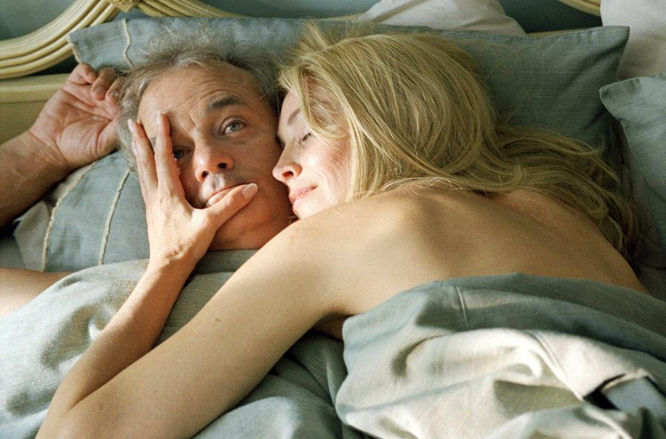 "FILE - In this publicity film image provided by Focus Features, Bill Murray and Sharon Stone are shown in a scene of ""Broken Flowers,"" directed by Jim Jarmusch. (AP Photo/Focus Features, File)"