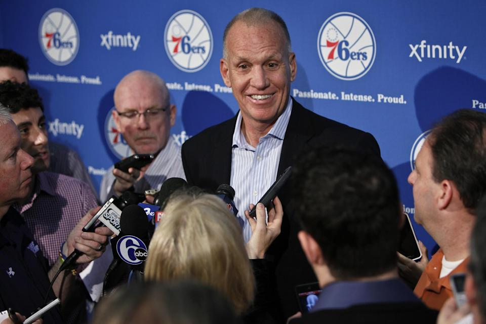 Doug Collins responds to questions during a news conference where he announced his resignation as head coach of the Philadelphia 76ers NBA basketball team, Thursday, April 18, 2013 in Philadelphia. (AP Photo/Joseph Kaczmarek)