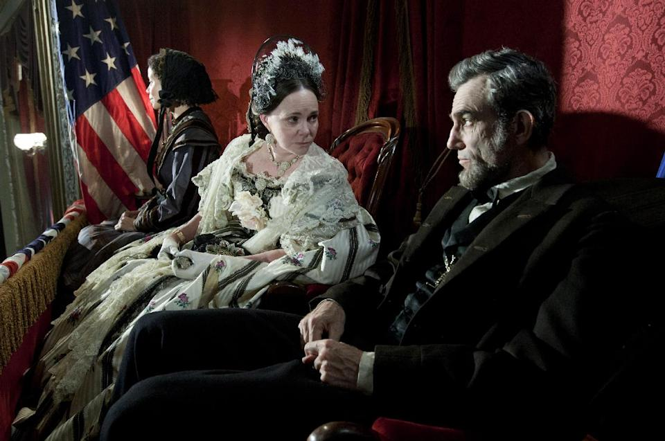 "This image released by DreamWorks II Distribution Co., LLC and Twentieth Century Fox Film Corporation shows Sally Field and Daniel Day-Lewis appear in a scene from ""Lincoln.""  (AP Photo/DreamWorks II Distribution Co., LLC and Twentieth Century Fox Film Corporation, David James)"