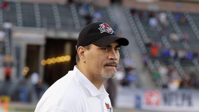 American team assistant coach Kevin Mawae looks on from the sidelines during the NFLPA Collegiate Bowl on Saturday, Jan. 19, 2013 in Carson, Calif. (Ric Tapia/AP Images for NFLPA)