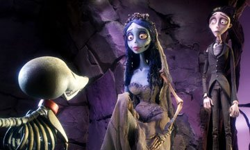 Scraps the skeleton dog with the Corpse Bride (voiced by Helena Bonham Carter ) and Victor (voiced by Johnny Depp ) in Warner Bros. Pictures' stop-motion animated film Tim Burton's Corpse Bride