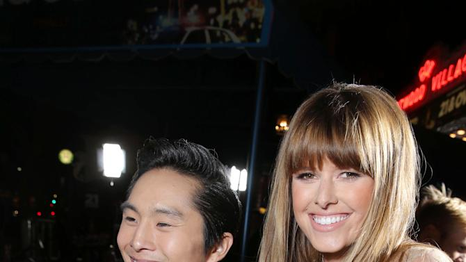 """Justin Chon and Sarah Wright at the LA premiere of """"21 and Over"""" at the Westwood Village Theatre on Thursday, Feb. 21, 2013 in Los Angeles. (Photo by Eric Charbonneau/Invision/AP)"""