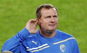 FC Viktoria Plzen's coach Pavel Vrba gestures a training session at Camp Nou stadium in Barcelona