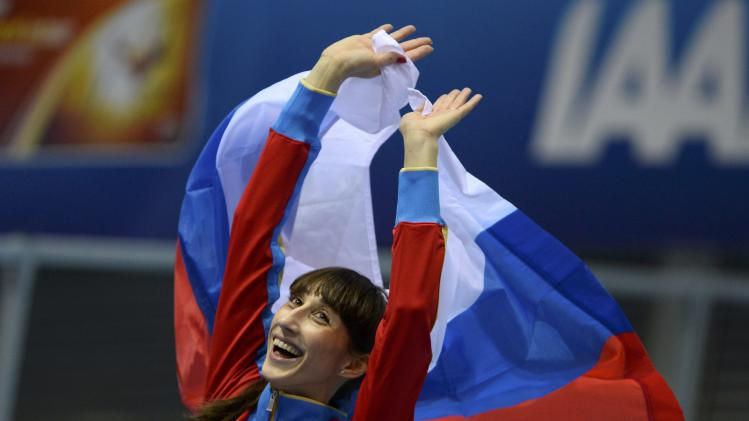 Russia's Koneva celebrates after winning gold in women's triple jump final at world indoor athletics championships in Sopot