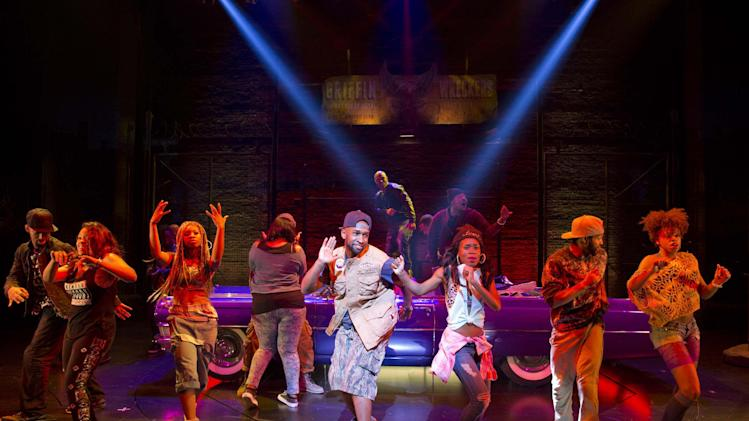 """This image released by Boneau/Bryan-Brown shows the cast performing in """"Holler If Ya Hear Me,"""" at the Palace Theatre in New York. (AP Photo/Boneau/Bryan-Brown, Joan Marcus)"""