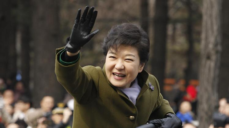 South Korea's new President Park Geun-hye leaves after her inauguration at parliament in Seoul, South Korea, Monday, Feb. 25, 2013. Elected in December, Park is believed to be the first Korean woman to rule in a millennium. (AP Photo/Kim Hong-Ji, Pool)