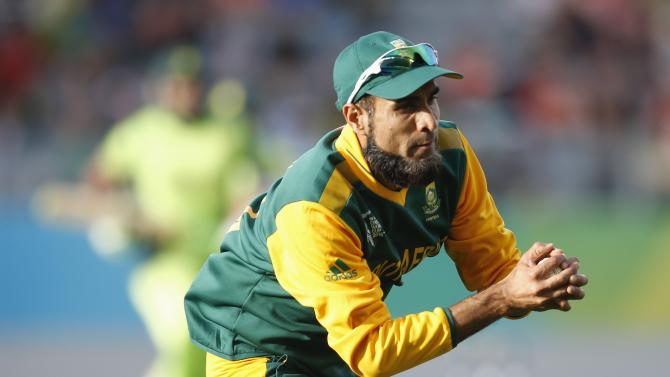 South Africa's Imran Tahir catches out Pakistan's Rahat Ali during their Cricket World Cup match in Auckland