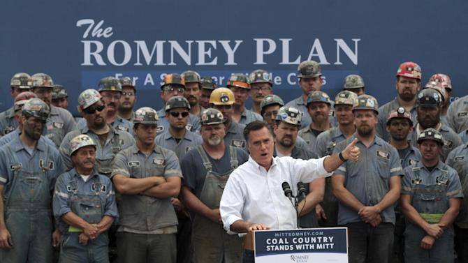 Republican presidential candidate, former Massachusetts Gov. Mitt Romney speaks during a campaign event at the American Energy Corporation,  Tuesday, Aug. 14, 2012, in Beallsville, Ohio.  (AP Photo/Mary Altaffer)