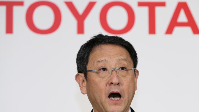 Toyota Motor Corp. President Akio Toyoda speaks during a news conference at the automaker's Tokyo head office in Tokyo, Wednesday, May 8, 2013. Toyota's January-March profit more than doubled to 313.9 billion yen ((Canadian) $3.2 billion) as cost cuts and better sales worked with a weakening yen to add momentum to the automaker's comeback. (AP Photo/Itsuo Inouye)