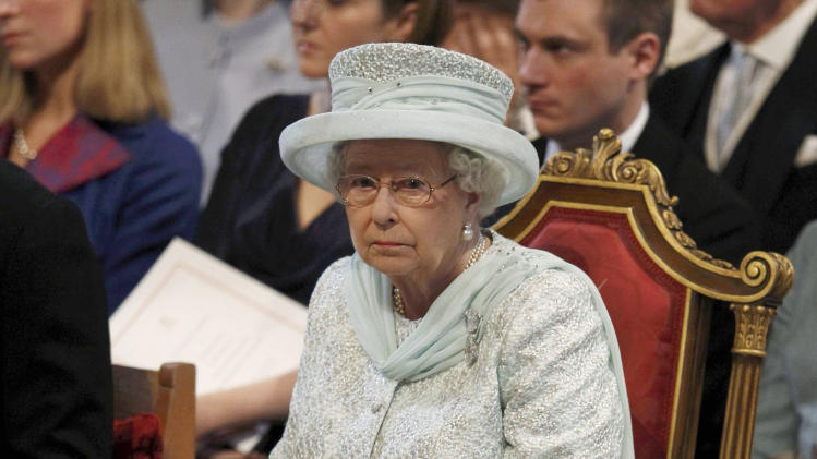 Britain's Queen Elizabeth, attends a thanksgiving service to celebrate  her Diamond Jubilee at St Paul's Cathedral in central London  Tuesday June 5, 2012. Four days of nationwide celebrations during which millions of people have turned out to mark Queen Elizabeth's Diamond Jubilee conclude on Tuesday with a church service and carriage procession through central London. (AP Photo/Suzanne Plunkett, Pool)